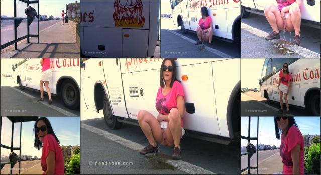NeedAPee.com 194_-_Rebekah_-_Parked_Bus_Pee